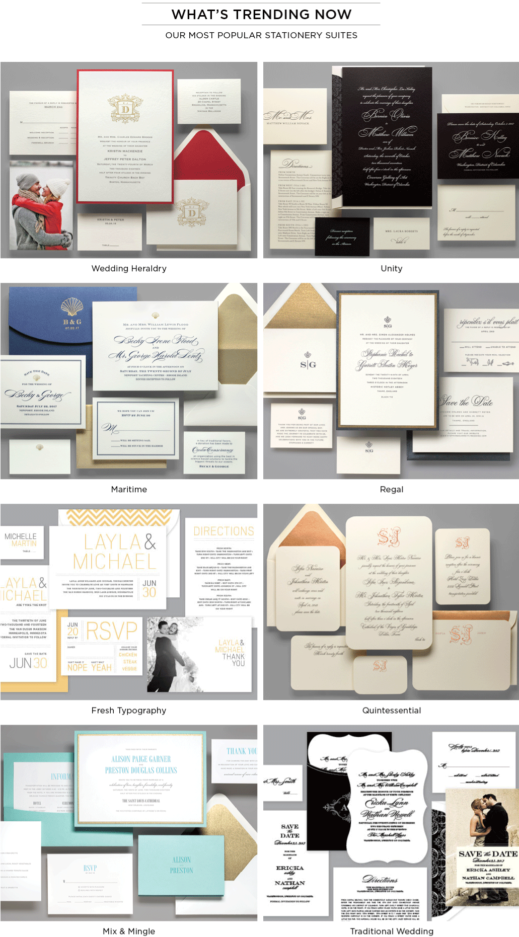 Popular Wedding Stationery Suites